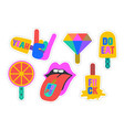 ice cream stickers colorful fun stickers for vector image