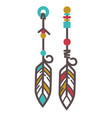 indian earrings with feathers vector image vector image