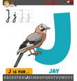 letter e from alphabet with cartoon jay bird vector image vector image
