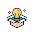 light bulb in box innovation creative vector image