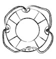 monochrome sketch of flotation hoop with tether vector image vector image