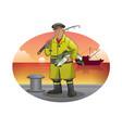 old fisherman cartoon with yellow jacket vector image vector image