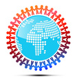 People Holding Hands Around Globe vector image vector image