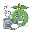 photographer guava mascot cartoon style vector image vector image