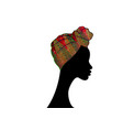 portrait beautiful afro woman in ankara turban vector image vector image