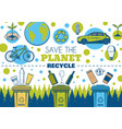 recycle symbol and eco green earth planet vector image