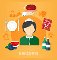 restaurant service concept vector image vector image