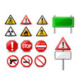 road signs and triangular warning hazard signs vector image vector image