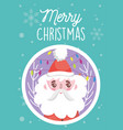 santa face branch lights snowflakes merry vector image vector image