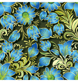 seamless blue floral ornament on dark green vector image