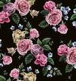 Seamless floral pattern with pink roses on black vector image vector image