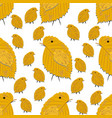 seamless pattern with chickens made leaves vector image