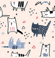 seamless pattern with hand drawn cats and vector image vector image