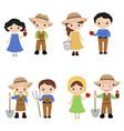 set of farmer girls and boys set of farmer girls vector image