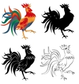 Set of four black white and colored roosters vector image