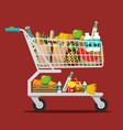 shopping cart with goods trolley with food flat vector image