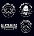 skateboarding labels badges set skate shop vector image vector image
