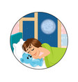 sleeping child with a toy vector image