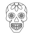 sugar skull flowers on the skull icon outline vector image