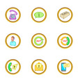 support service icons set cartoon style vector image vector image