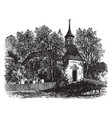 the old church at sleepy hollow vintage vector image vector image