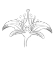 Tiger lily flower outline vector image vector image