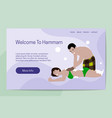 welcome to hammam concept attendant serves a vector image