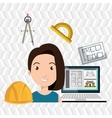 woman architect plane tool vector image vector image