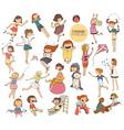 Big set of fun kids in various summer activities vector image