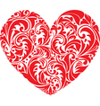 Red ornamental floral heart on white background vector image