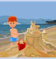 cartoon boy building sand castle on tropical beach vector image