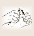 hands break pencil engraving vector image