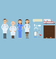 medicine set with doctor and nurses in flat style vector image