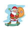 Santa Claus with skate board vector image