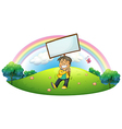 A happy boy holding an empty signboard vector image vector image
