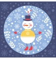 Beautiful Christmas card with snowman and bird vector image vector image