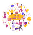 birthday flat composition vector image vector image