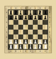 black and white chess wooden board with chess vector image