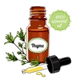 Bottle of Thyme essential oil with dropper vector image