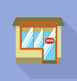 burger street shop icon flat style vector image