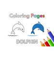 cartoon dolphin coloring book vector image vector image