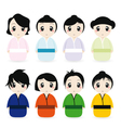 cartoon geisha set vector image vector image