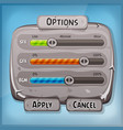 cartoon stone control panel for ui game vector image vector image