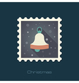 Christmas bell flat stamp vector image vector image