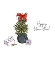 christmas hand-drawn decoration tree branches vector image vector image