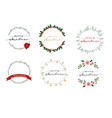 christmas wreath frame with merry vector image