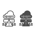 cloud cyber attack line and glyph icon ddos vector image vector image