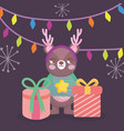 cute bear with gifts and lights merry christmas vector image vector image