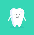 cute cartoon tooth character with face eyes and vector image