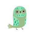 cute owlet adorable green owl bird vector image vector image